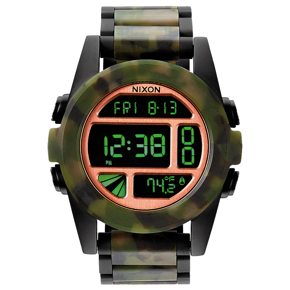 NIXON The UNIT SS 荒野之戰迷彩時尚叢林腕錶-鋼帶/48mm