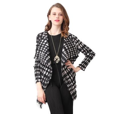 典雅黑白格紋長袖壓摺罩衫外套-玩美衣櫃
