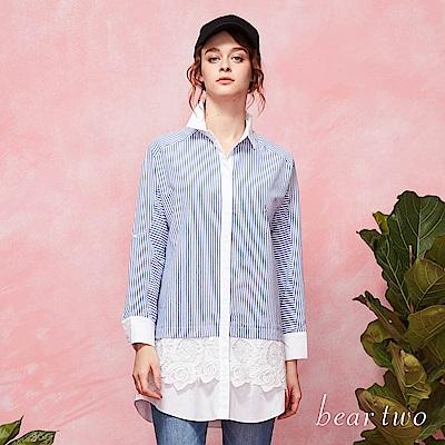 beartwo 都會質感直紋拼接蕾絲長版襯衫洋裝(二色)