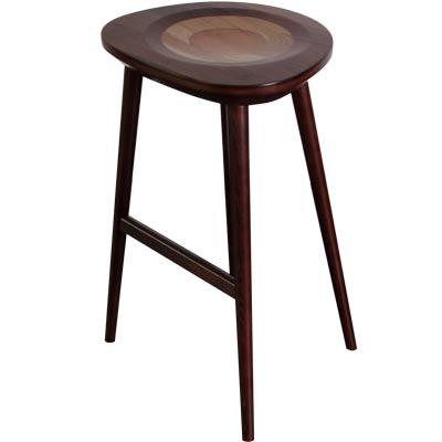 ROSA羅莎 羅勒造型實木吧檯椅-胡桃色