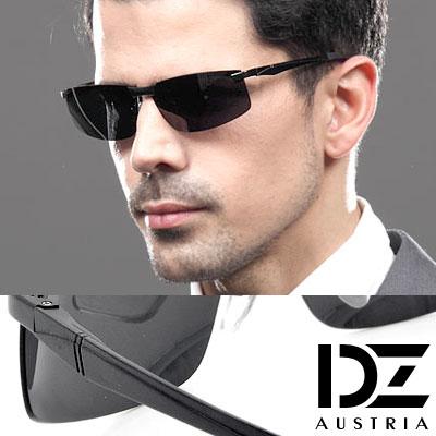 【2件59折】DZ 曲線基調 抗UV 偏光太陽眼鏡墨鏡(酷黑)