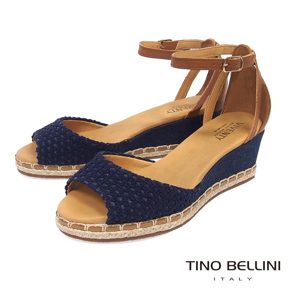 Tino Bellini 巴西進口棉麻編織繫踝楔型魚口涼鞋_ 藍