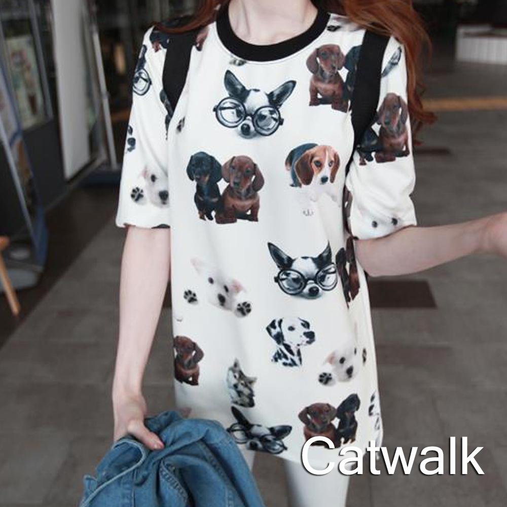 上衣 可愛狗狗印花長版T恤(白)-Catwalk