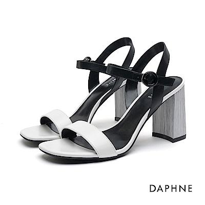 達芙妮DAPHNE 高跟鞋-一字帶繞踝圓釦高跟涼鞋-白