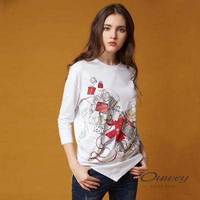 OUWEY歐薇 時尚印花不規則上衣(白)