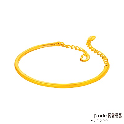 J code真愛密碼金飾 情緣黃金手環-硬金霧面單鐲