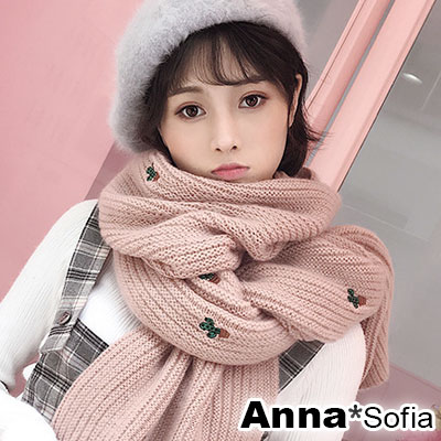 AnnaSofia 電繡小仙人掌直條 毛線織披肩圍巾(粉系)