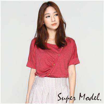 斜釦藝術設計短袖上衣-棗紅色(M-XL適穿) 名模衣櫃