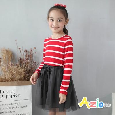 Azio Kids 童裝-洋裝 條紋綁帶網紗長袖洋裝(紅)
