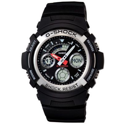 G-SHOCK 極速先鋒運動雙顯錶(AW-590-1A)-黑x銀框/46.4mm