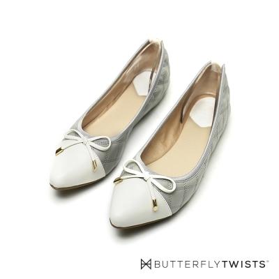 BUTTERFLY TWISTS-菱格紋蝴蝶結記憶軟墊平底鞋-氣質灰