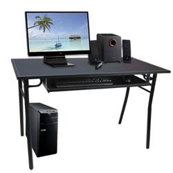 LOGIS  時尚馬鞍皮加大鍵盤抽H腳電腦桌-時尚黑(120x60x76cm)