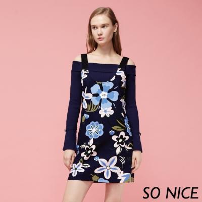 SO NICE時尚花朵吊帶洋裝-動態show