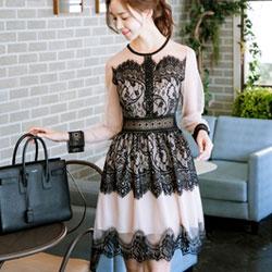 長袖蕾絲網紗洋裝