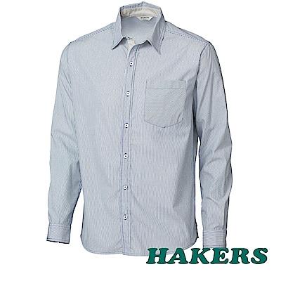 【HAKERS】男-都會條紋純棉襯衫-藍綠