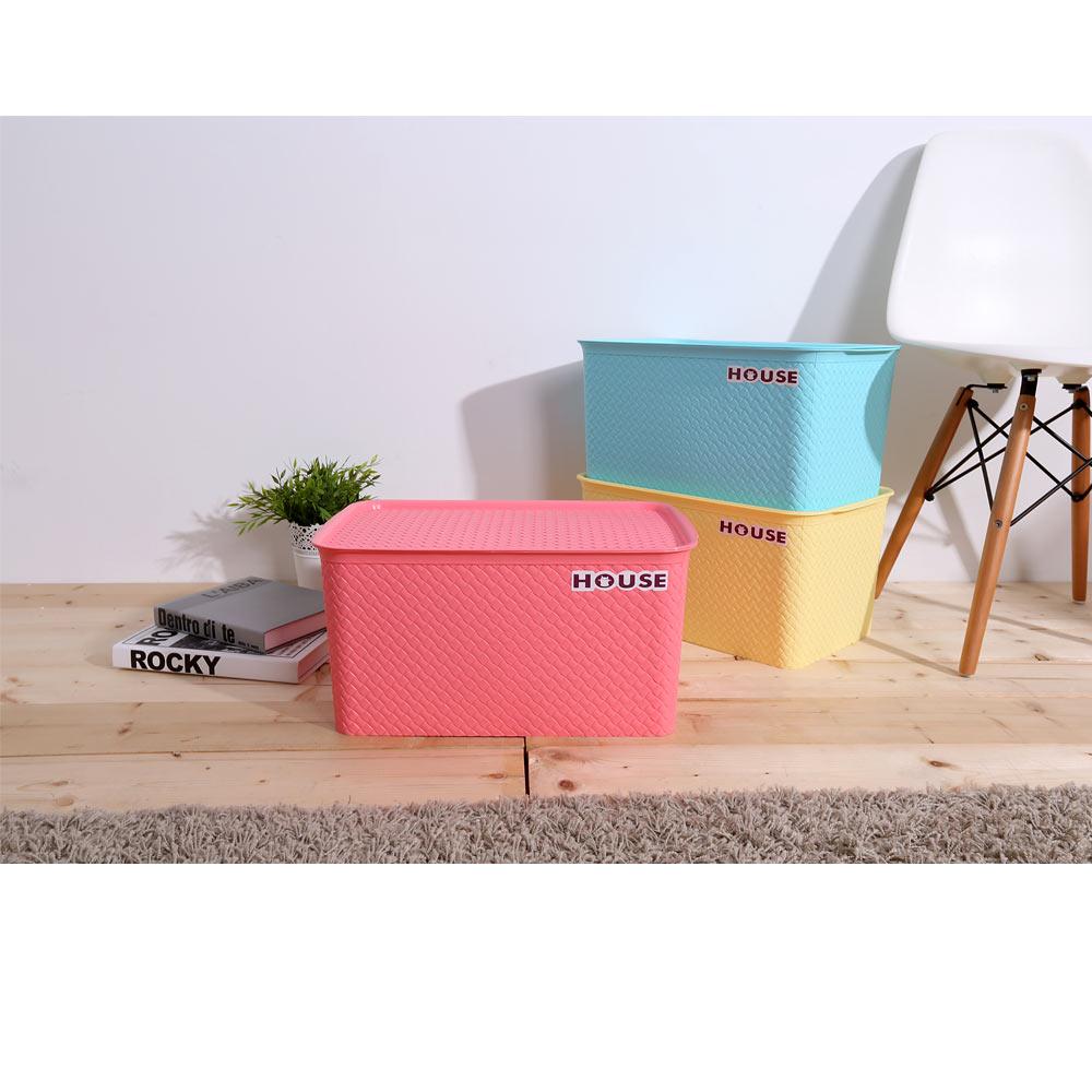 HOUSE 好室喵-編織盒 15L-中(合色-粉,藍,黃)*6入