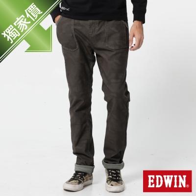 EDWIN 窄直筒 迦績褲迷彩CARGO牛仔褲-男-橄欖綠
