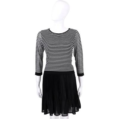 BLUGIRL 黑色條紋拼接雪紡百摺洋裝