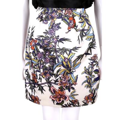 Max Mara-SPORTMAX 米白色多彩印花緞面及膝裙