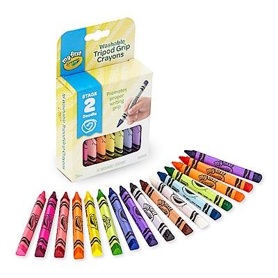 美國 Crayola繪兒樂 幼兒可水洗三角筆桿蠟筆16色(24M+)