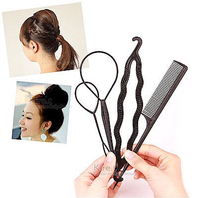 百變盤髮器套組(包包頭+編髮器+尖尾梳+贈橡皮筋)