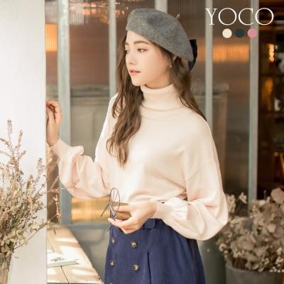 東京著衣-yoco 優雅韓風多色高領澎袖針織上衣-S.M.L(共三色)