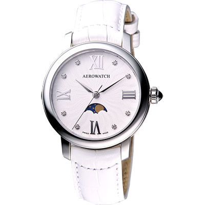 AEROWATCH Renaissance Miss Luna 月相真鑽腕錶-白/36mm