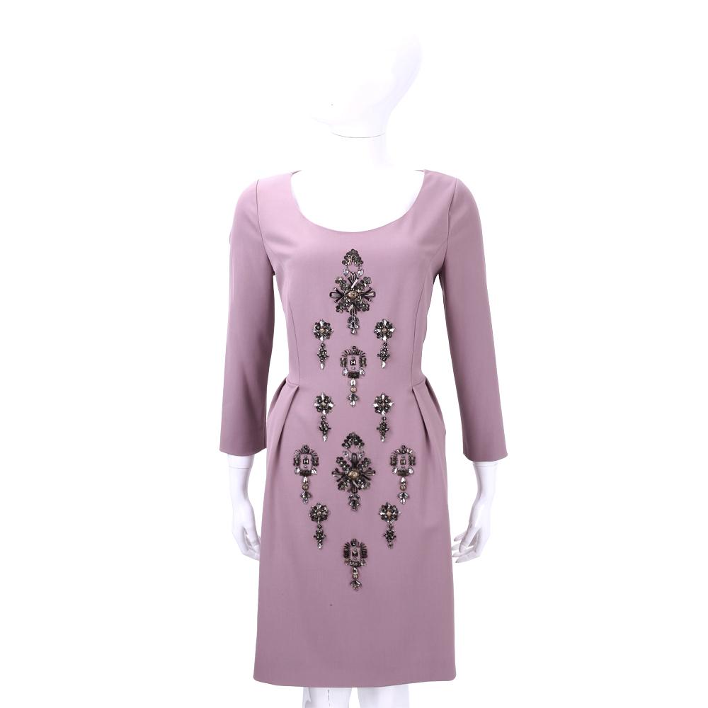 ALBERTA FERRETTI 粉紫色珠鑽飾羊毛九分袖洋裝