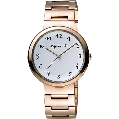 agnes b. 自由的主題時尚腕錶(BH8028X1)-白x玫塊金/36mm