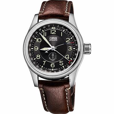 Oris豪利時 Big Crown 戴高樂號航空母艦飛行限量錶-黑x咖啡/40mm