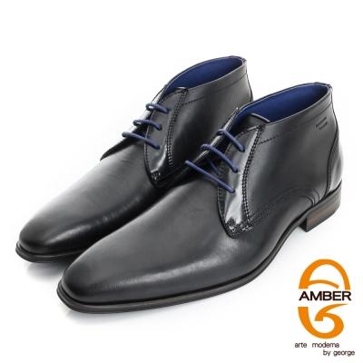 【AMBER】紳士品味 葡萄牙進口雙色拼接綁帶皮鞋(男)-黑色