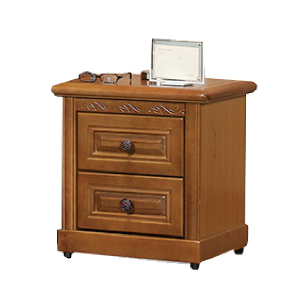 品家居 格布爾1.8尺樟木紋實木二抽床頭櫃-53x45x56cm-免組