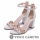 Vince Camuto 春漾粉金簍空繞踝高跟涼鞋-白色
