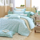 MONTAGUT-菊色天堂(藍)-200織紗精梳棉-鋪棉床罩組(加大)