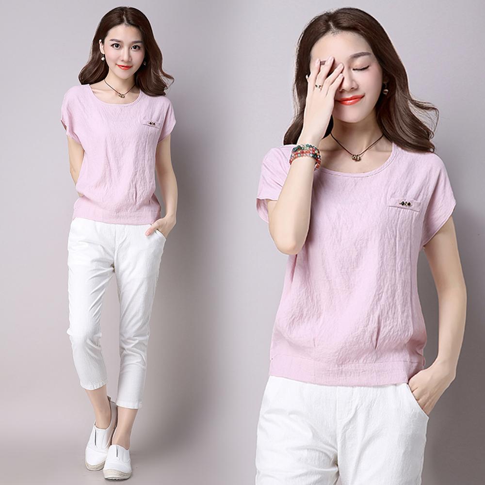 初色 假口袋造型寬鬆短袖上衣-共3色(M-2XL可選) product image 1