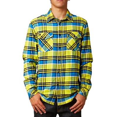 [摩達客]美國進口知名時尚休閒品牌【Fox】黃藍方格紋長袖襯衫