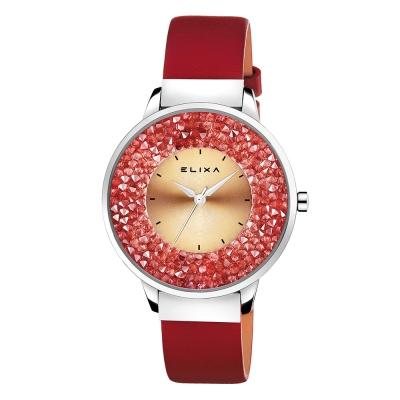 ELIXA Finesse系列銀框 紅色晶鑽錶面/皮革錶帶38mm
