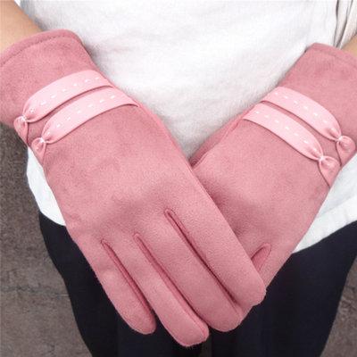 ACUBY-一指觸控典雅編織手套-粉