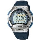 CASIO 炫銀羅盤潮汐膠帶錶(W-753-2)-藍按鍵
