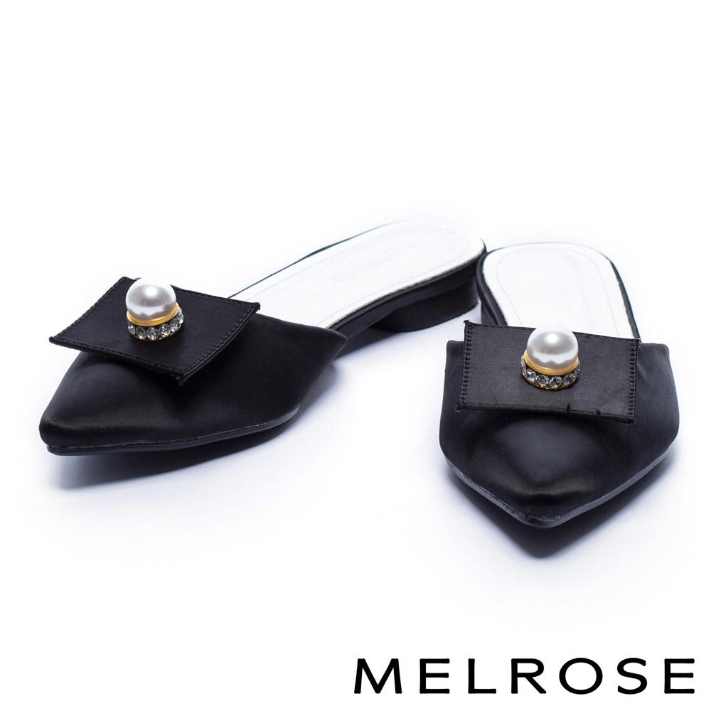 拖鞋 MELROSE 珍珠水鑽緞布尖頭平底拖鞋-黑