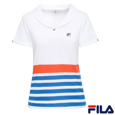 FILA女小領條紋POLO 衫-白5POR-1432-WT