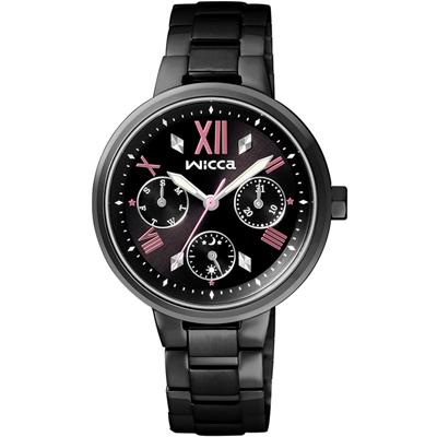 WICCA 閃耀三眼時尚腕錶(BH7-547-51)-黑/34mm