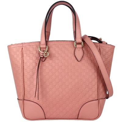 GUCCI Guccissima 粉紅色真皮壓印品牌吊飾斜背/手提包