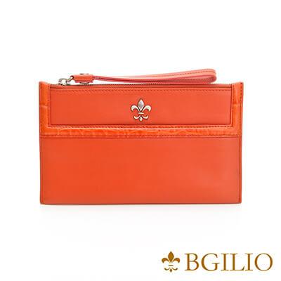 義大利BGilio-NAPPA軟牛皮俏麗拉鍊隨身萬用夾-橘紅色-1711.301-01