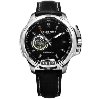 GIORGIO FEDON 1919 自動兼手動上鍊機械錶真皮手錶 -黑色/46mm