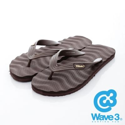 WAVE3【男】台灣製 波浪菱格紋人字夾腳拖鞋~咖