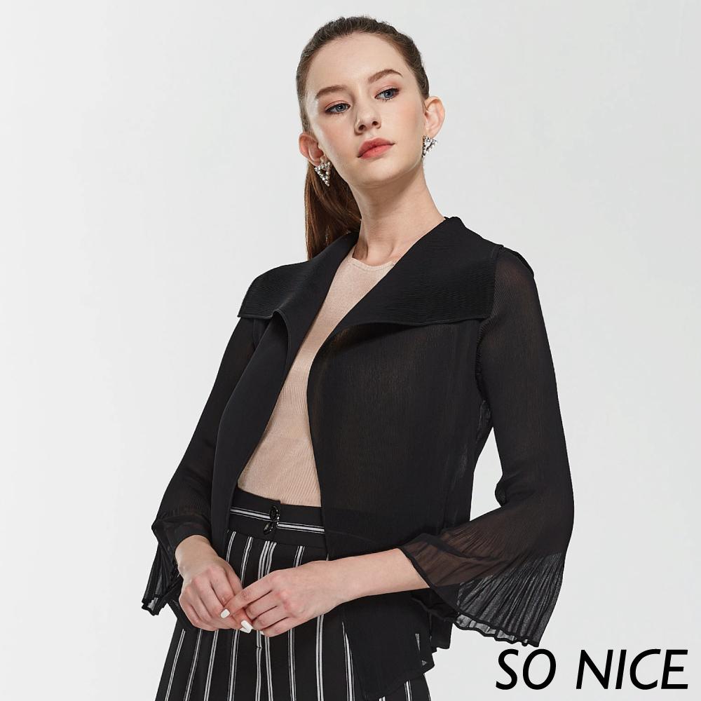 SO NICE都會時尚壓褶大翻領外套