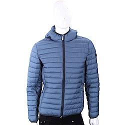 VERSACE 霧藍色絎縫連帽科技棉保暖夾克