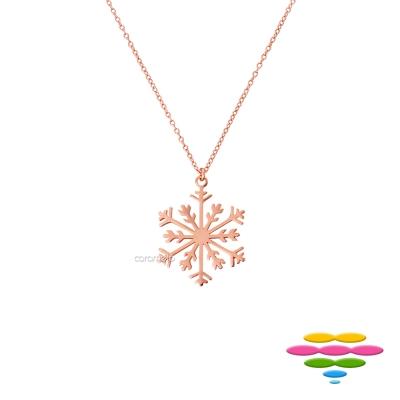 彩糖鑽工坊 雪花項鍊 銀鍍玫瑰金項鍊 桃樂絲 Doris系列