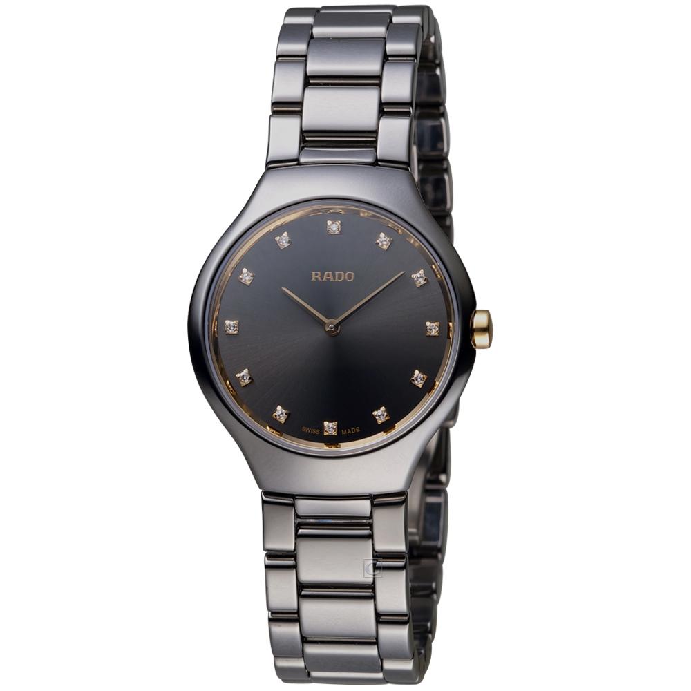 雷達錶 RADO True Thinline真薄簡約時尚陶瓷女腕錶-銀灰/30mm